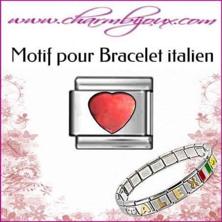 Maillon Coeur rouge : Motif Italien pour bracelet italien en Acier