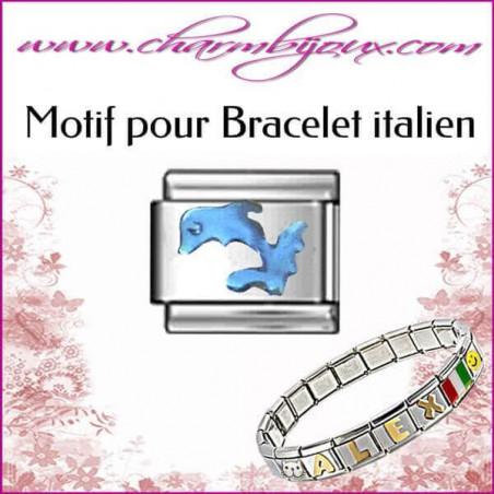 Maillon Dauphin bleu : Motif Italien pour bracelet italien en Acier