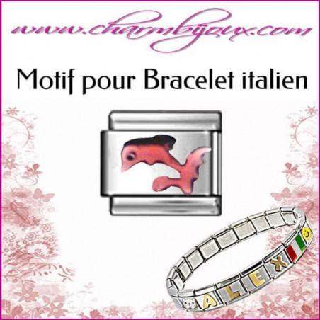 Maillon Dauphin rose : Motif Italien pour bracelet italien en Acier