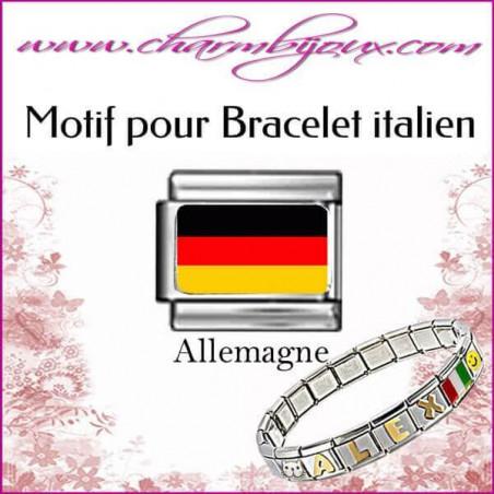 Maillon Drapeau allemand : Motif Italien pour bracelet italien en Acier