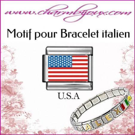 Maillon Drapeau americain : Motif Italien pour bracelet italien en Acier