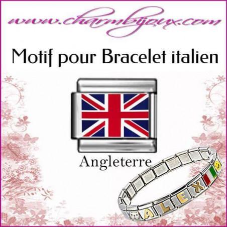 Maillon Drapeau anglais : Motif Italien pour bracelet italien en Acier