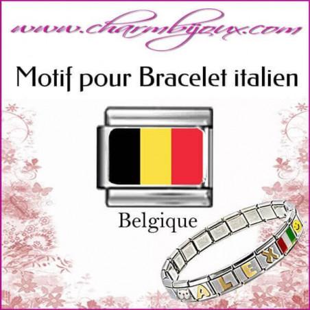 Maillon Drapeau belge : Motif Italien pour bracelet italien en Acier