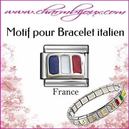 Maillon Drapeau de la France : Motif Italien pour bracelet italien en Acier