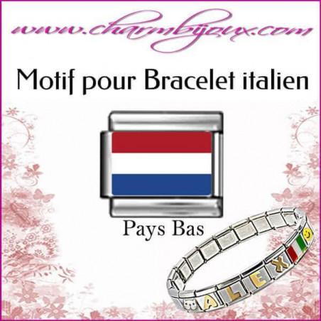 Maillon Drapeau hollandais : Motif Italien pour bracelet italien en Acier