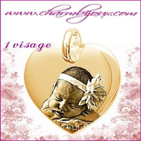 Médaille Coeur droit en Plaque or 18 carats -pendentif Gravure PHOTO