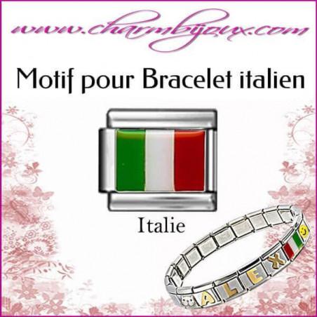 Maillon Drapeau italien : Motif Italien pour bracelet italien en Acier