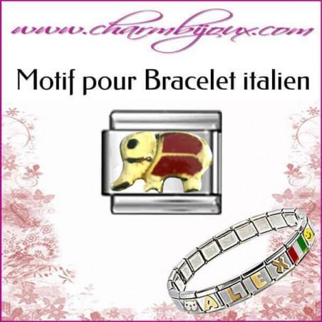 Maillon Eléphant rouge : Motif Italien pour bracelet italien en Acier