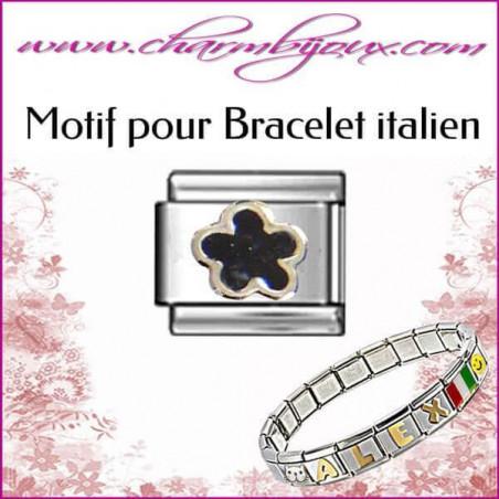 Maillon fleur noire : Motif Italien pour bracelet italien en Acier