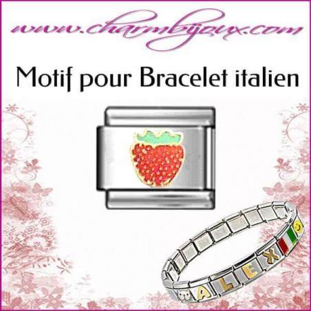 Maillon fraise : Motif Italien pour bracelet italien en Acier