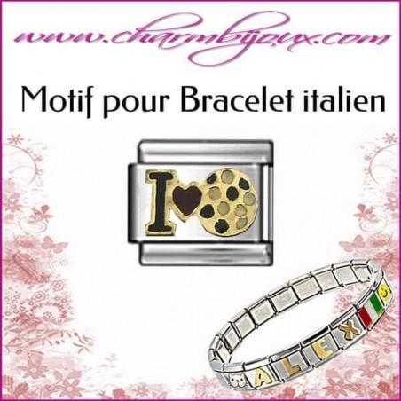 Maillon I love football : Motif Italien pour bracelet italien en Acier