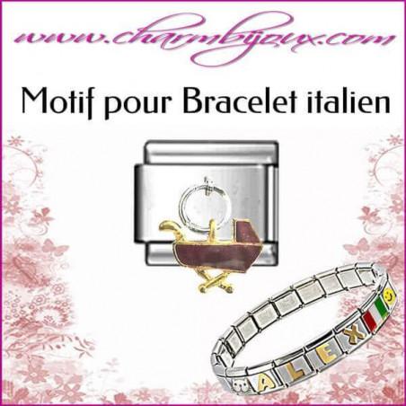 Maillon landau: Motif Italien pour bracelet italien en Acier