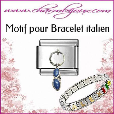 Maillon lunettes: Motif Italien pour bracelet italien en Acier