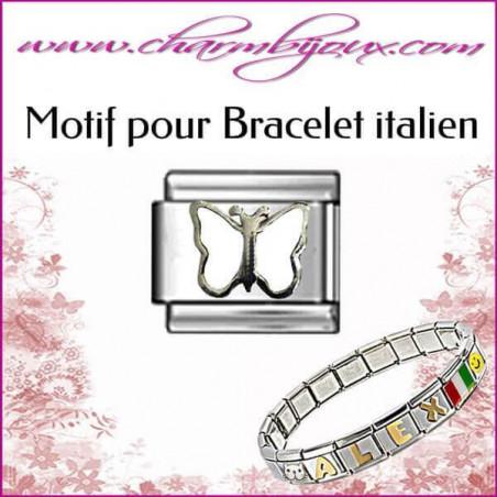 Maillon papillon blanc: Motif Italien pour bracelet italien en Acier