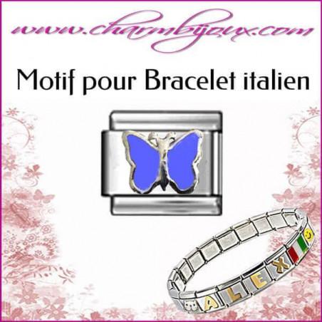 Maillon papillon bleu: Motif Italien pour bracelet italien en Acier