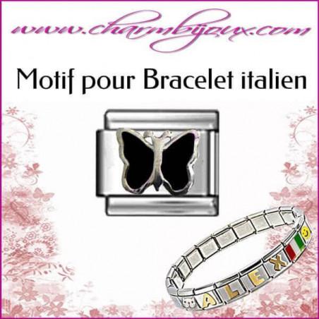 Maillon papillon noir: Motif Italien pour bracelet italien en Acier