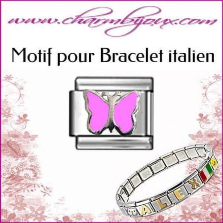 Maillon papillon rose : Motif Italien pour bracelet italien en Acier