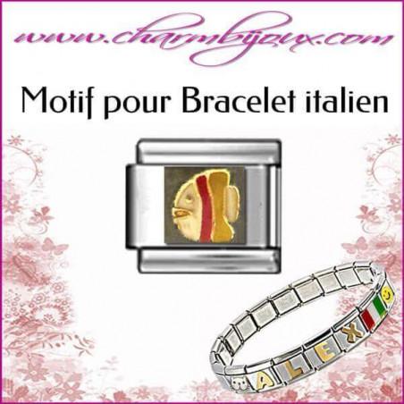 Maillon poisson multicolore : Motif Italien pour bracelet italien en Acier