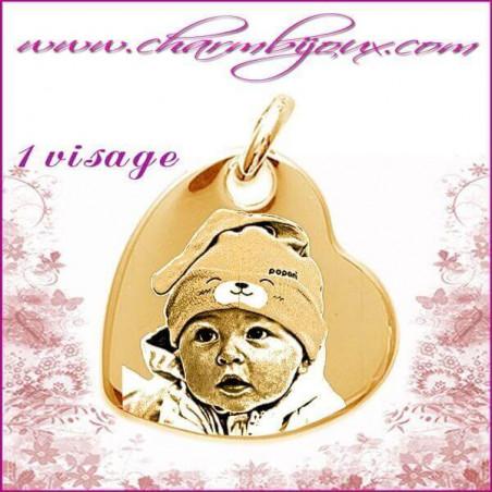 Medaille Coeur suspendu en Plaque or 18 carats - pendentif Gravure PHOTO