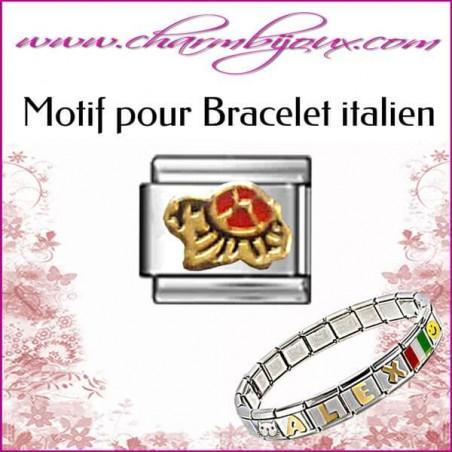 Maillon tortue : Motif Italien pour bracelet italien en Acier