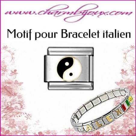 Maillon Ying et Yang : Motif Italien pour bracelet italien en Acier