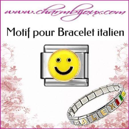 Maillon smiley jaune: Motif Italien pour bracelet italien en Acier