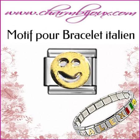 Maillon smiley doré: Motif Italien pour bracelet italien en Acier