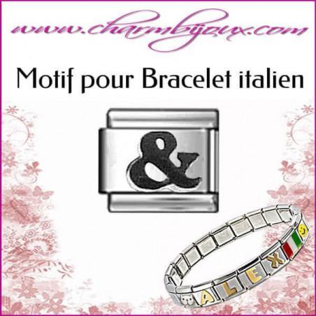 Maillon signe & noir : Motif Italien pour bracelet italien en Acier