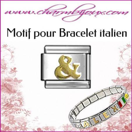 Maillon signe & doré : Motif Italien pour bracelet italien en Acier