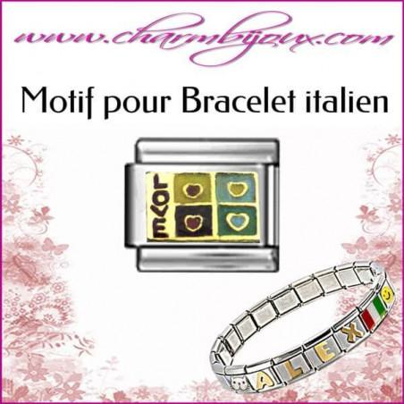 Maillon Love 4 coeurs : Motif Italien pour bracelet italien en Acier