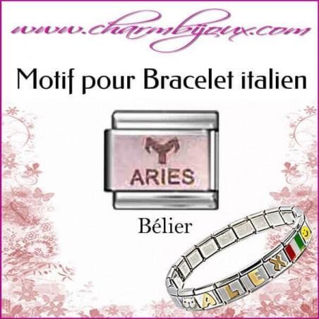 Maillon signe du zodiaque Bélier : Motif Italien pour bracelet italien en Acier