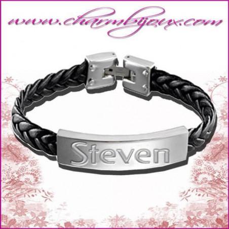Bracelet Prénom Cuir tressé noir avec plaque rectangle en Acier- Gravure Prénom OFFERTE