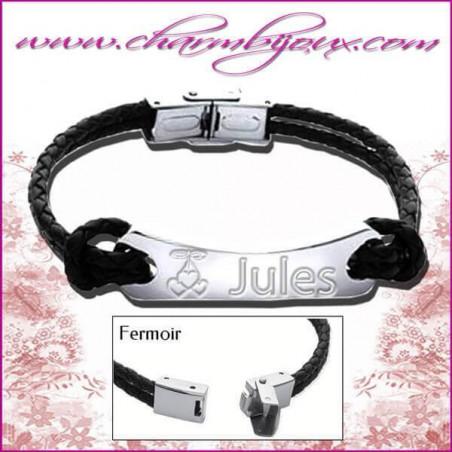 Bracelet Prénom Cuir noir 2 noeuds avec plaque rectangle en Acier- Gravure Prénom OFFERTE