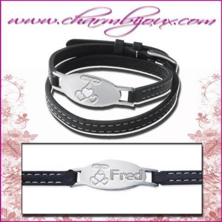 Bracelet Prénom Cuir double rang avec plaque ovale en Acier- Gravure Prénom OFFERTE