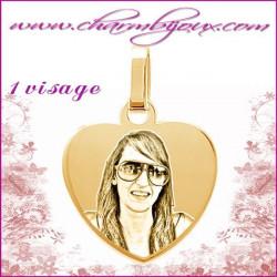 Medaille Coeur plat en Plaque or 18 carats - pendentif Gravure PHOTO