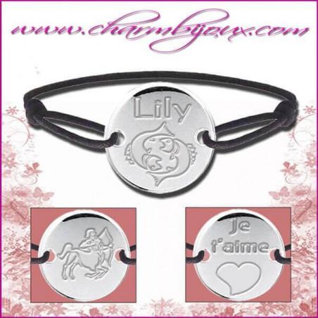 Bracelet cordon avec plaque ronde en Argent - Gravure Zodiaque