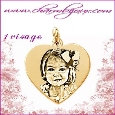 Médaille Coeur love en Plaqué or 18 carats - GRAVURE PHOTO 2 visages