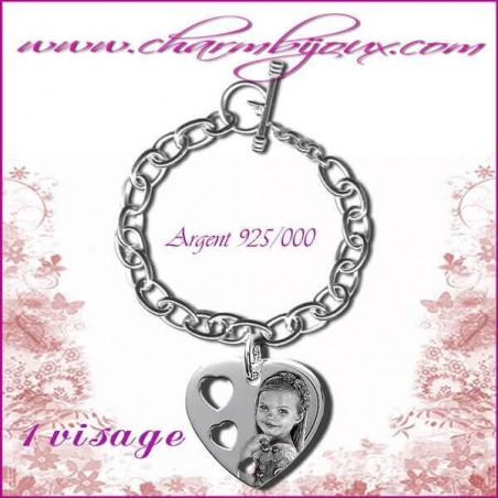 Bracelet 1 Coeur troué Argent avec gravure Photo OFFERTE - Gravure date- Gravure symbole - Argent véritable