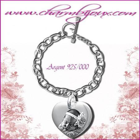 Bracelet 1 Coeur droit Argent avec gravure Photo OFFERTE - Gravure date- Gravure symbole - Argent véritable