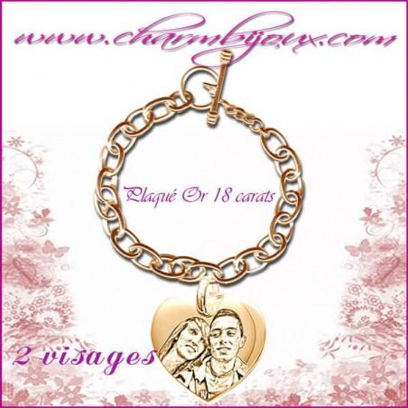 Bracelet 1 Coeur droit Plaqué or avec gravure Photo OFFERTE - Gravure date- Gravure symbole - Plaqué or 18 carats