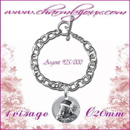 Bracelet 1 Rond Argent avec gravure Photo OFFERTE - Gravure date- Gravure symbole - Argent véritable