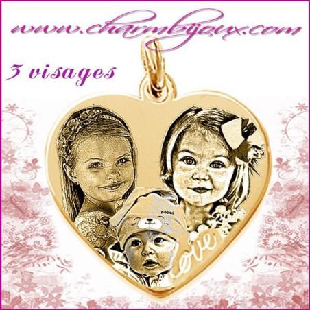 Médaille grand Coeur love en Plaqué or 18 carats - GRAVURE PHOTO 3 visages