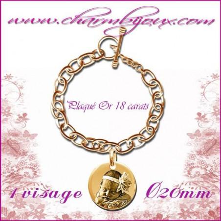 Bracelet 1 Rond Plaqué or avec gravure Photo OFFERTE - Gravure date- Gravure symbole - Plaqué or 18 carats