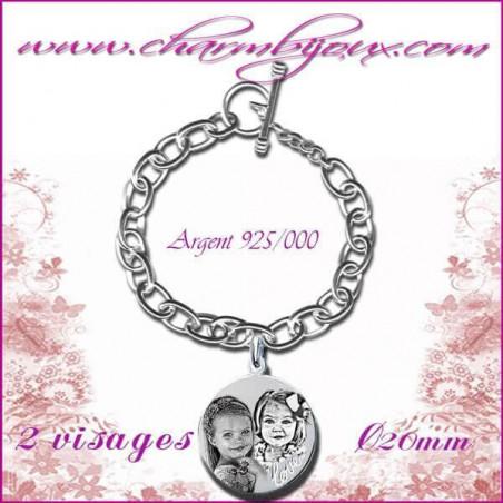 Bracelet 1 Rond Love Argent avec gravure Photo OFFERTE -Inscription du mot Love-Gravure date- Gravure symbole -Argent véritable