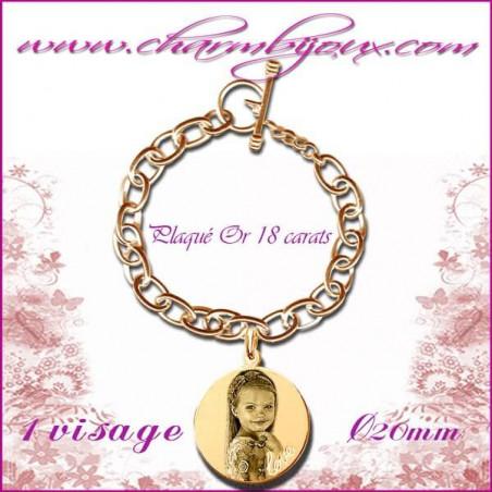 Bracelet 1 Rond Love Plaqué or avec gravure Photo OFFERTE - Inscription du mot LOVE - Gravure date- Gravure symbole - Plaqué or