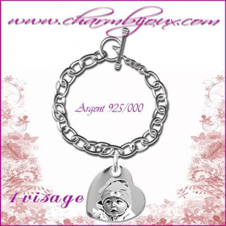 Bracelet 1 Coeur penché Argent avec gravure Photo OFFERTE - Gravure date- Gravure symbole - Argent véritable