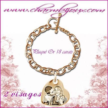 Bracelet 1 Coeur penché Plaqué or avec gravure Photo OFFERTE - Gravure date- Gravure symbole - Plaqué or 18 carats