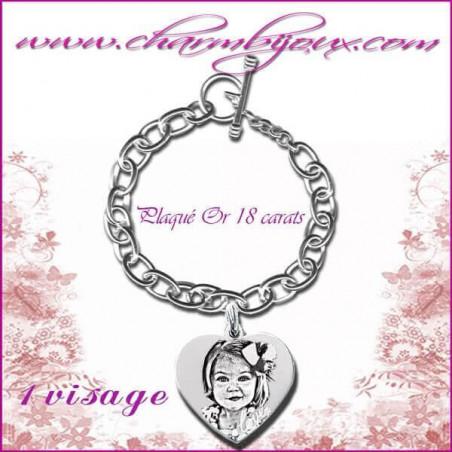 Bracelet 1 Coeur Love Argent avec gravure Photo OFFERTE -Inscription du mot Love-Gravure date- Gravure symbole -Argent véritable
