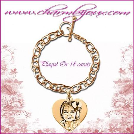 Bracelet 1 Coeur Love Plaqué or avec gravure Photo OFFERTE - Gravure date- Gravure symbole - Plaqué or 18 carats