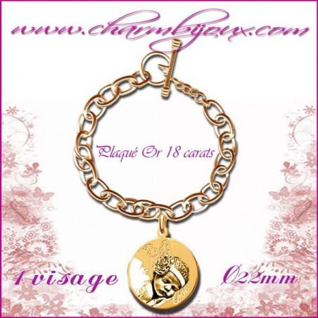 Bracelet 1 Rond motif enfants Plaqué or avec gravure Photo OFFERTE - Gravure date- Gravure symbole - Plaqué or